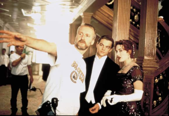 "James Cameron, Leonardo DiCaprio and Kate Winslet on the set of ""Titanic"""
