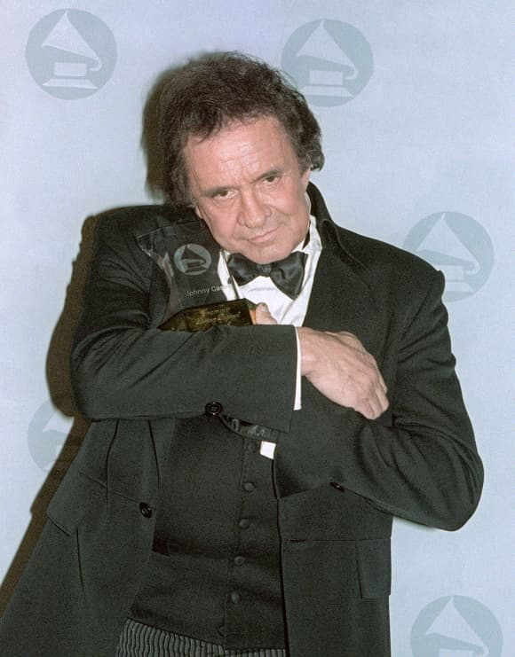 Johnny Cash With His Grammy Legend Award