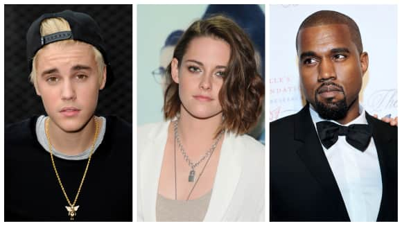 Justin Bieber mit Kristen Stewart und Kanye West