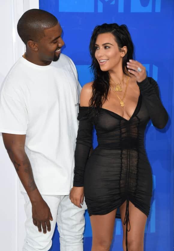 Kanye West and Kim Kardashian at the MTV VMAs