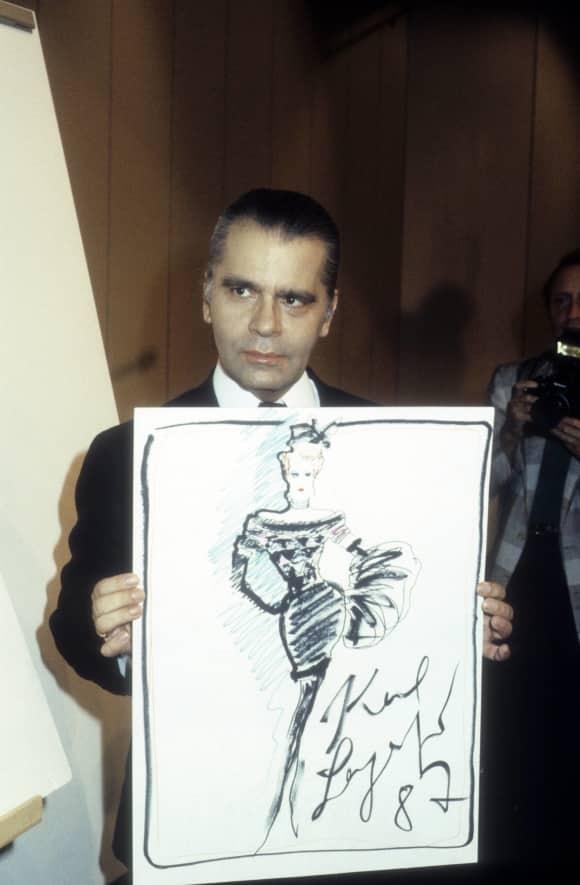 Karl Lagerfeld im Jahr 1987 Modedesigner Chanel