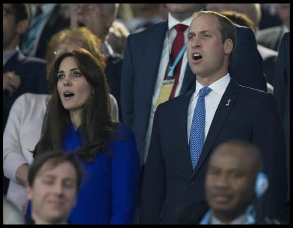 Duchess Catherine and Prince William singing the anthem