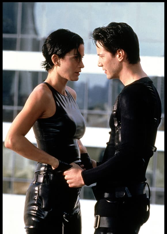 """Keanu Reeves and Carrie-Ann Moss in """"The Matrix"""""""