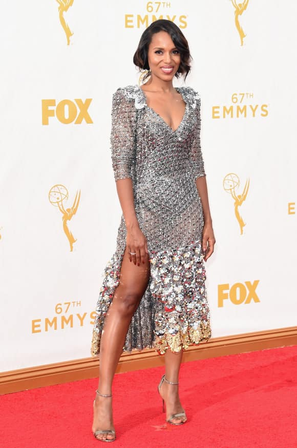Kerry Washington kam auch im Metallic-Look
