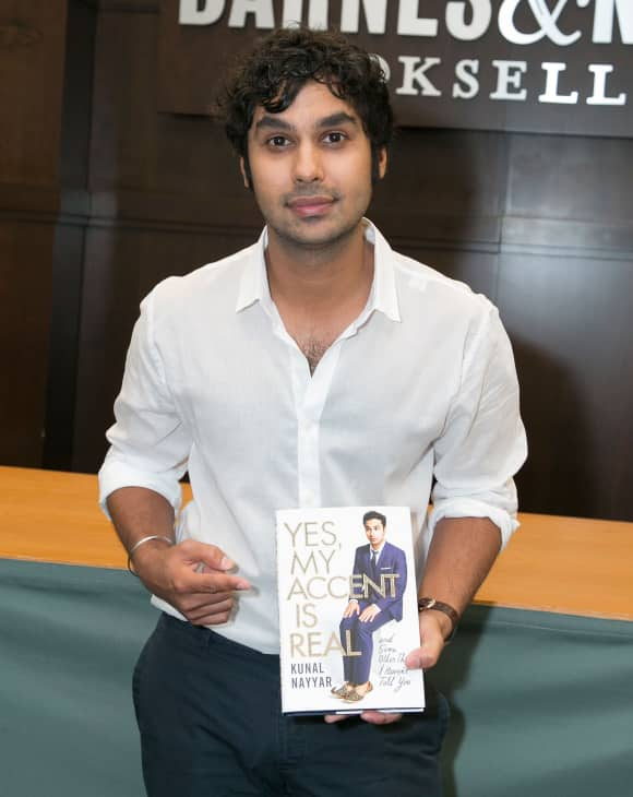 Kunal Nayyar showing off his first book