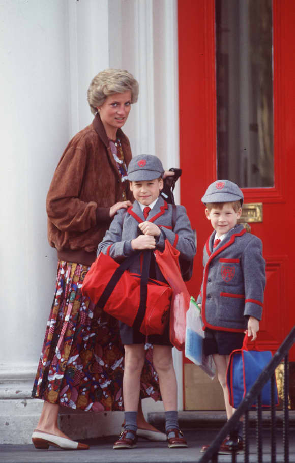 Princess Diana, Prince William and Prince Harry going to school