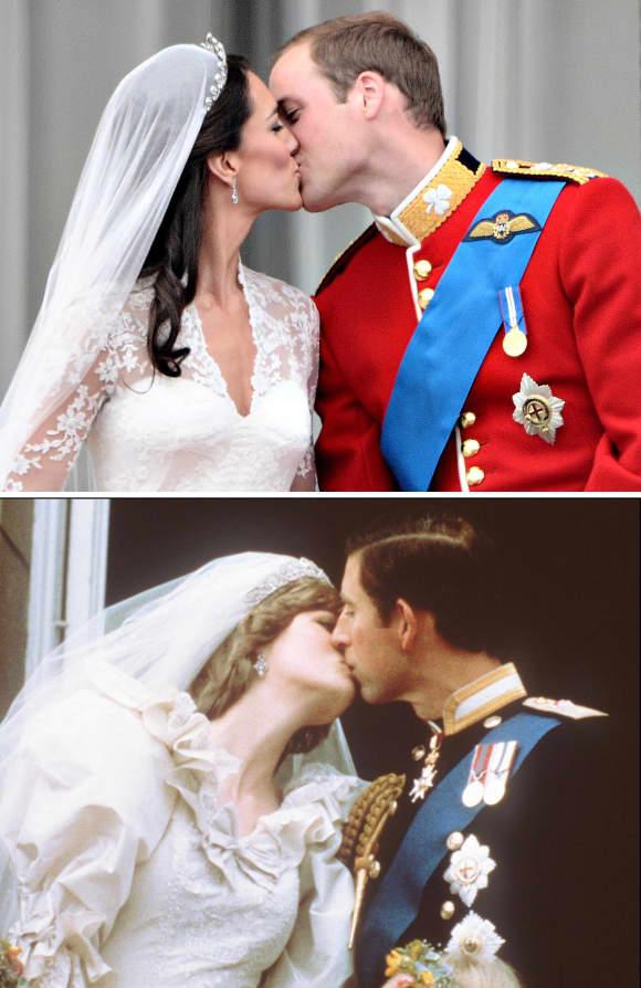 Lady Diana und Prinz Charles (1981) und Kate Middleton und Prinz William (2012)