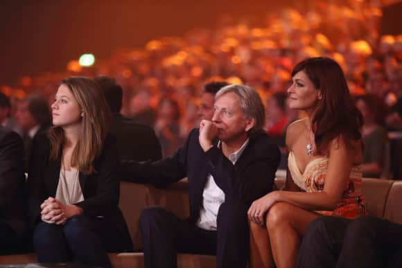 Andreas Tochter Lena-Maria, ihr Ehemann Uli Ferber und Andrea selbst bei einem öffentlichen Auftritt
