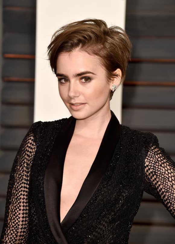 Lily Collins Daughter Phil Collins Pixie-Cut Vanity Fair Oscar Party