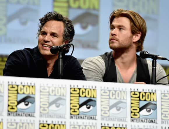 "Mark Ruffalo alias ""Hulk"" and Chris Hemsworth alias ""Thor"""