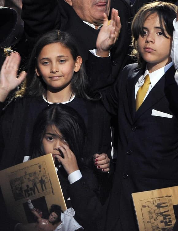 Paris Jackson, Prince Michael Jackson and Blanket Jackson at the Funeral of Micheal Jackson