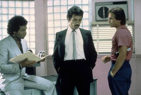 "Philip Michael Thomas, Edward James Olmos and Don Johnson in ""Miami Vice"""