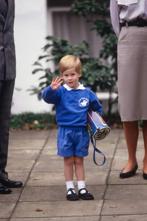 Prince Harry on his first day of kindergarten in 1987