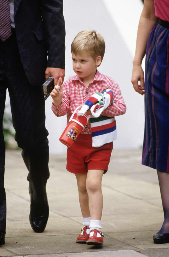 Prince William on his first day at Wetherby School in London.
