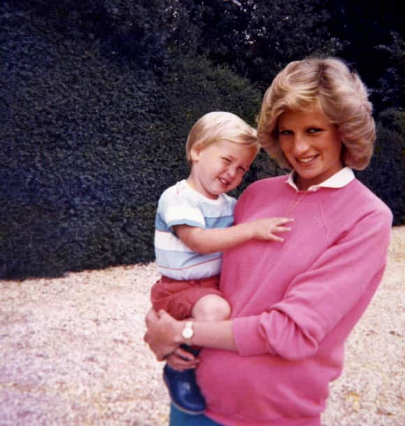Prince William and the pregnant Princess Diana