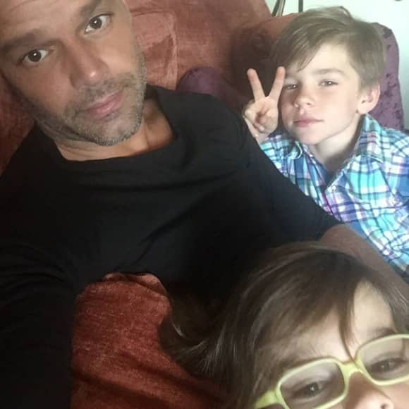 Ricky Martin with his twins