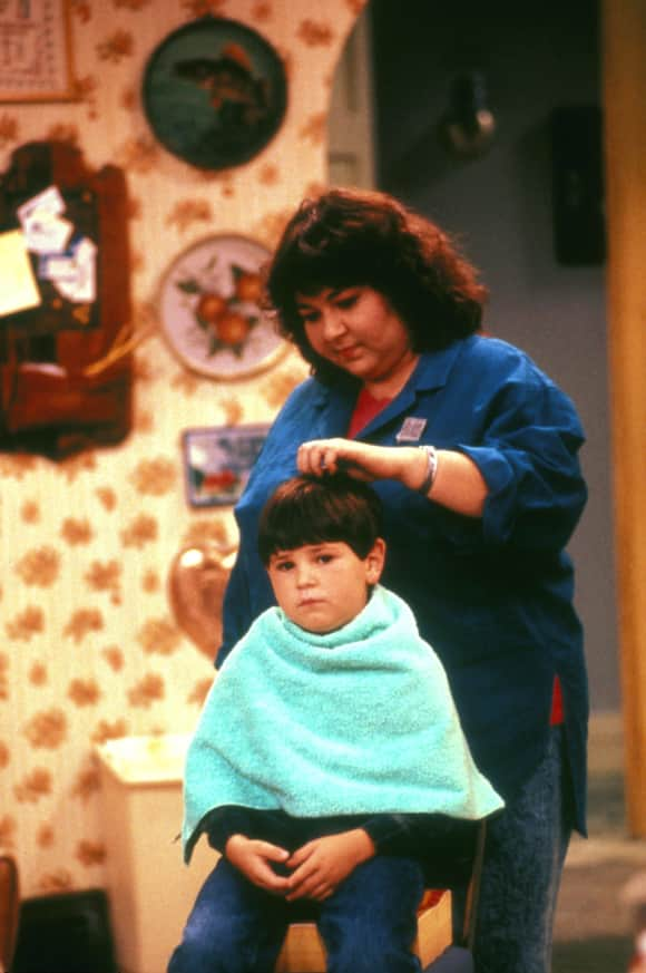 "Roseanne Barr and Michael Fishman in ""Roseanne"""