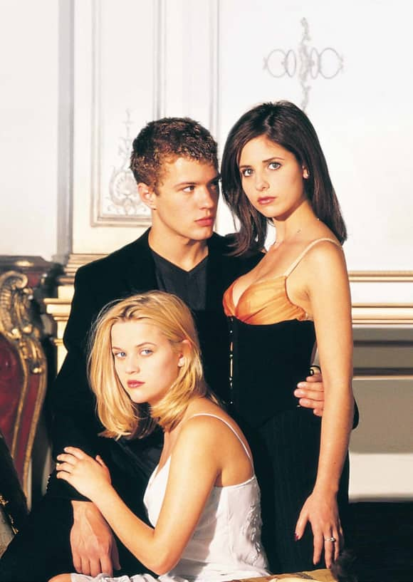 "Ryan Phillippe, Reese Witherspoon and Sarah Michelle Gellar in ""Cruel Intentions"""