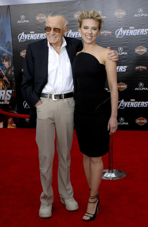 Stan Lee and Scarlett Johansson