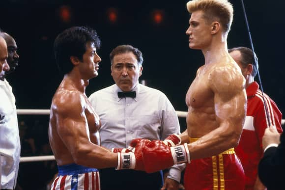 "Sylvester Stallone and Dolph Lundgren in ""Rocky"""