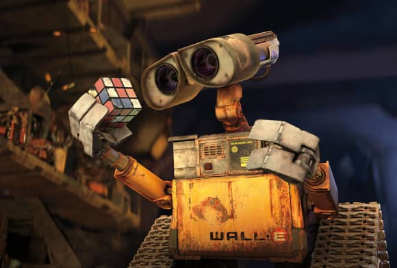 """""""Wall-E"""" holding a Rubix cube"""