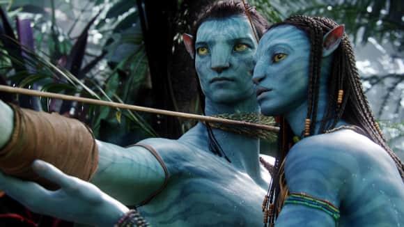 """Avatar"": Zoe Saldana als ""Neytiri"" und Sam Worthington als ""Jake Sully"""