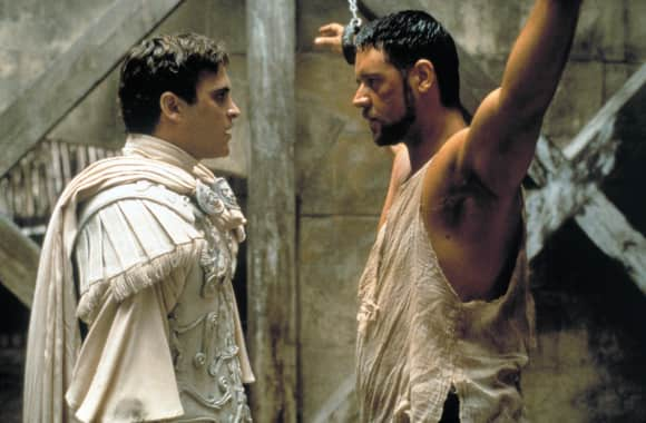"""Commodus"" (Joaquin Phoenix) and ""Maximus"" (Russell Crowe) in ""Gladiator"""
