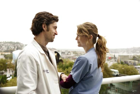 """Meredith Grey"" (Ellen Pompeo) and ""Derek Shepherd"" (Patrick Dempsey) in ""Grey's Anatomy"""