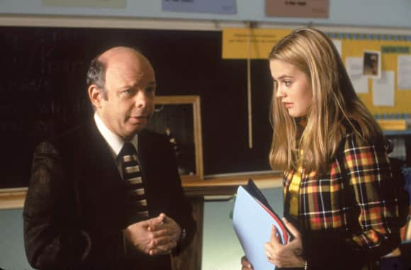 "Wallace Shawn and Alicia Silverstone as ""Mr. Hall"" and ""Cher"" in ""Clueless"""