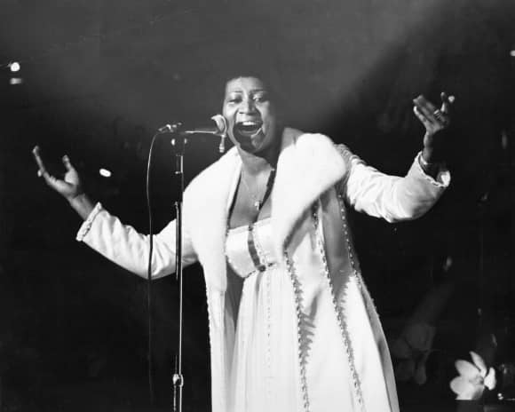 "Aretha Franklin alias the ""Queen of Soul"" on stage in 1968"