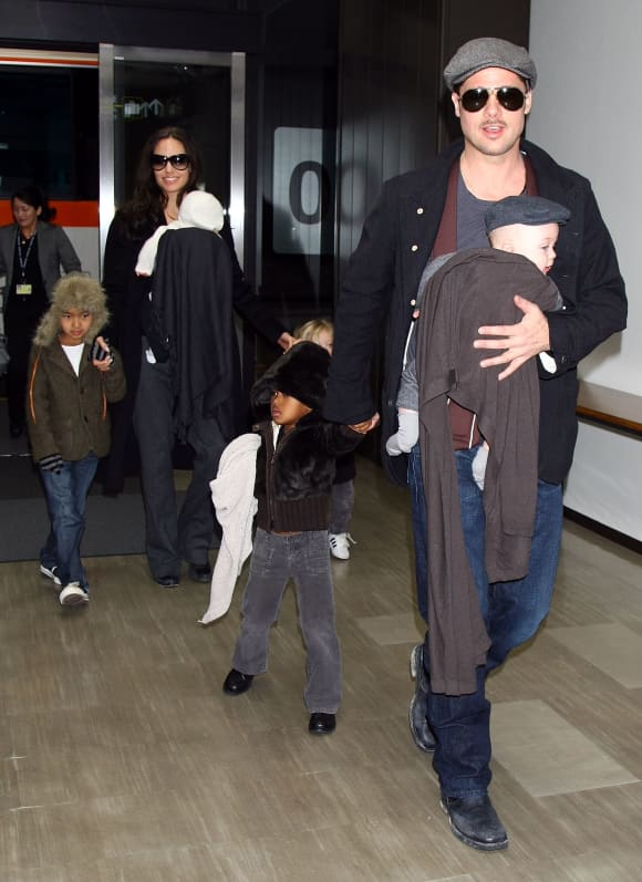 Brad Pitt with his family