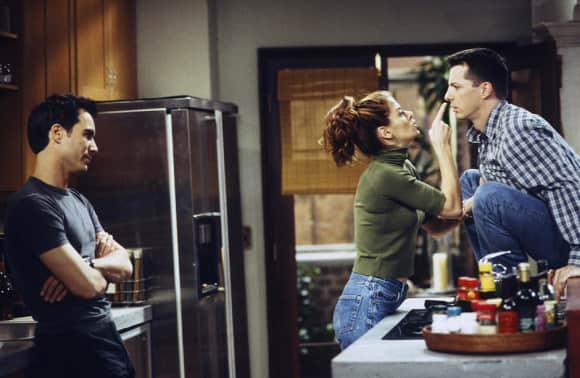 Eric McCormack, Debra Messing and Sean Hayes on the set of Will & Grace