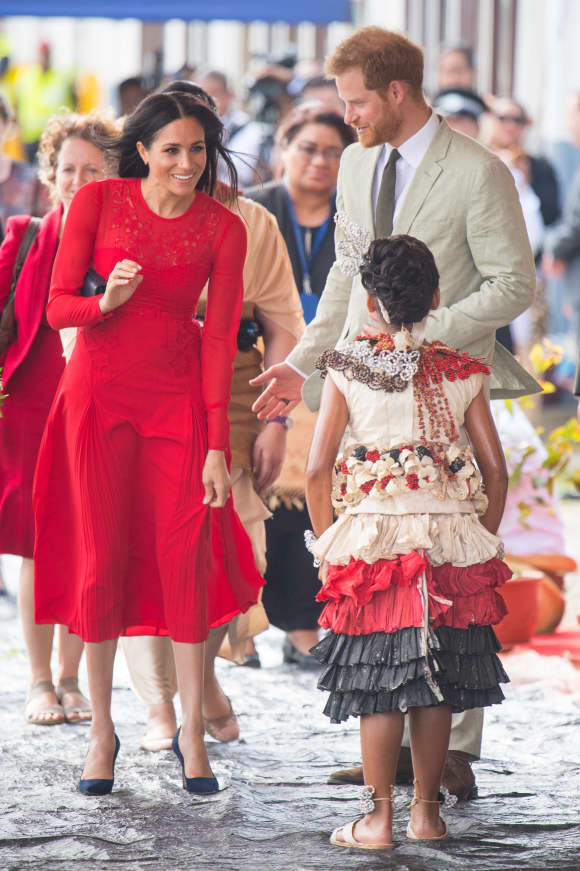 The Duke and Duchess of Sussex arrive at Fua'amotu Airport in Tonga