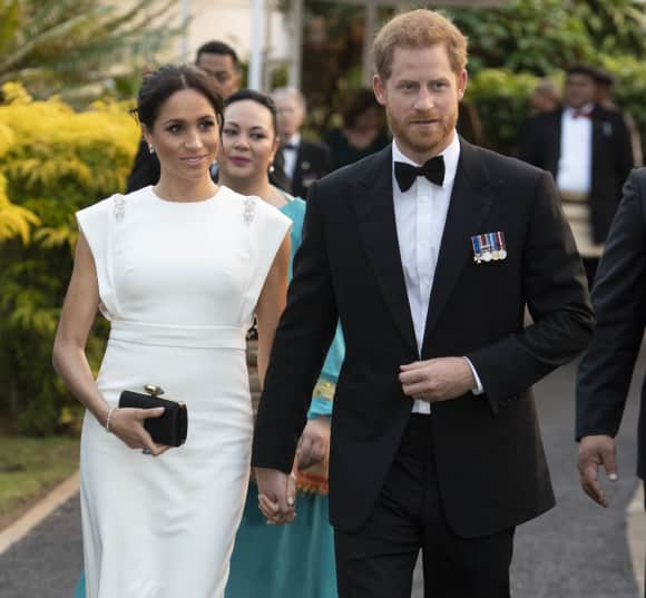The Duke and Duchess of Sussex attend a state dinner at the Royal Residence in Tonga