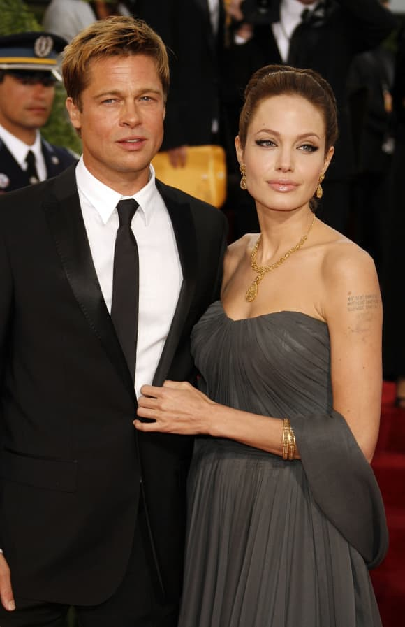 Angelina Jolie and Brad Pitt at the Golden Globes in 2007