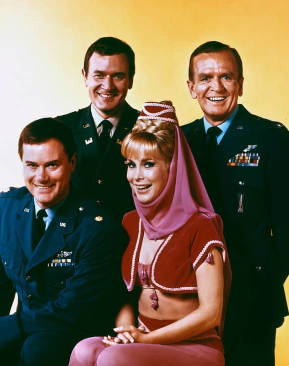 The I Dream of Jeannie Cast in 1966: Larry Hagman, Bill Daily, Barbara Eden and Hayden Rorke