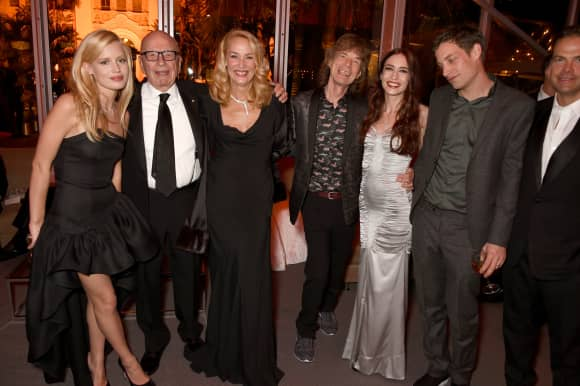 Georgia May Jagger, Rupert Murdoch, Jerry Hall, Mick Jagger,  Elizabeth Jagger und James Jagger