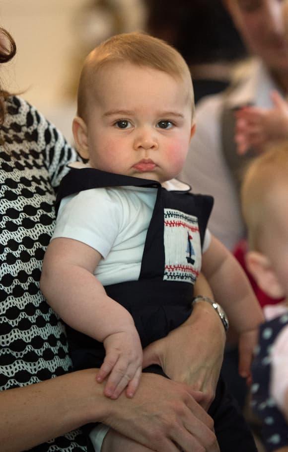 Prinz George während eines Plunket-Krankenschwester- und Elterngruppenbesuchs im Regierungshaus in Wellington am 9. April 2014.