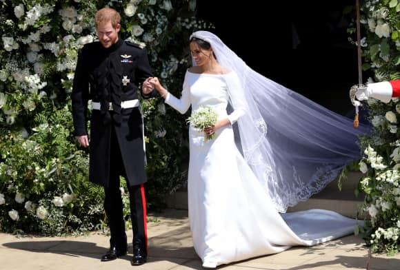 Prince Harry and Meghan, Duchess of Sussex on their wedding day at Windsor Castle.