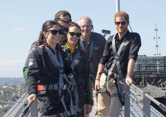 Prince Harry on Sydney Harbour Bridge