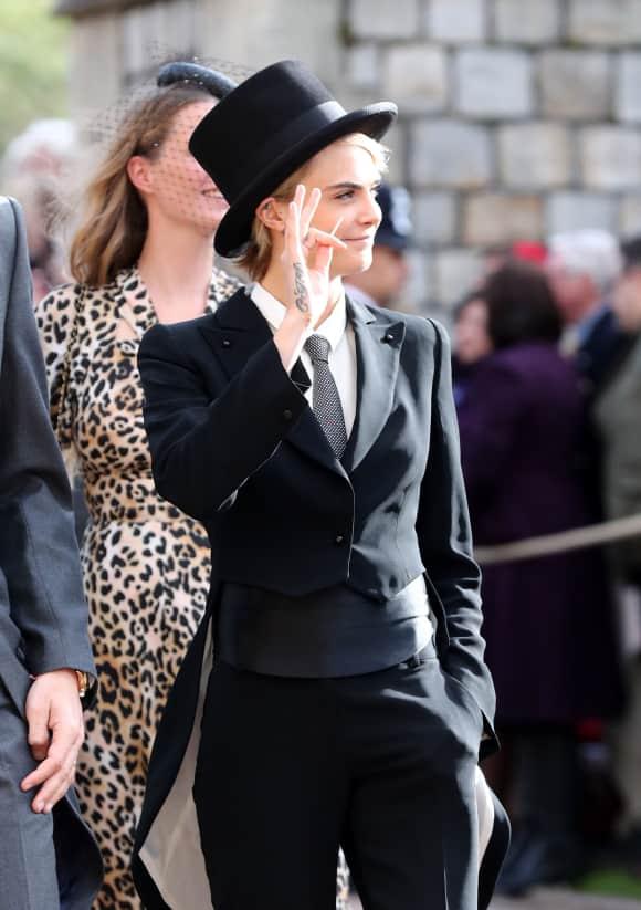 Cara Delivingne Top hat St. George's Chapel Windsor Castle Eugenie Wedding