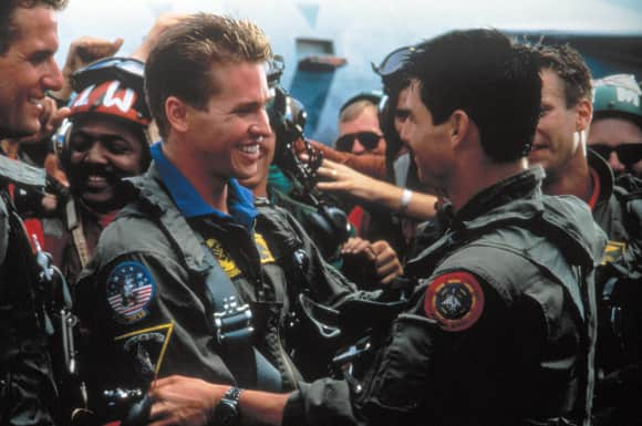 "Val Kilmer alias ""Iceman"" and Tom Cruise alias ""Maverick"" in ""Top Gun"""
